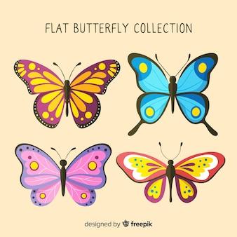 Colección mariposas en diseño plano