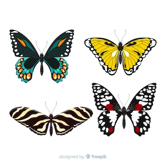 Colección de mariposas en diseño plano