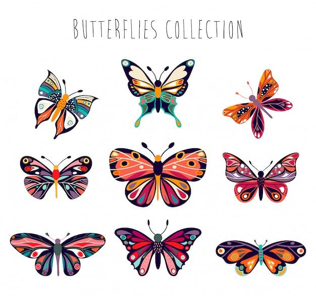 Colección de mariposas con elementos decorativos dibujados a mano.