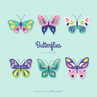 Colección mariposas planas