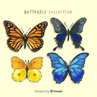 Colección mariposas realistas dibujados a mano