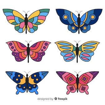 Colección de mariposas volando en diseño plano