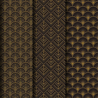 Colección marrón oscuro de patrones sin fisuras art deco