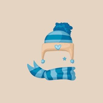 Colección de máscara de cabina de foto de navidad. sombrero de invierno de rayas azules con elementos de fotomatón de bufanda y copos de nieve