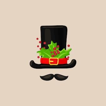 Colección de máscara de cabina de foto de navidad. sombrero de muñeco de nieve de navidad con hojas verdes y bayas con bigote