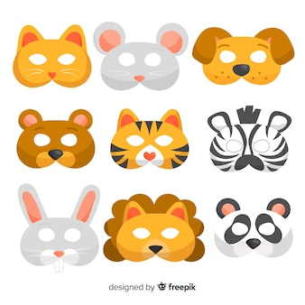 Colección de máscaras de animales de carnaval