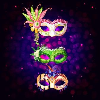 Colección de máscaras de carnaval de dibujos animados