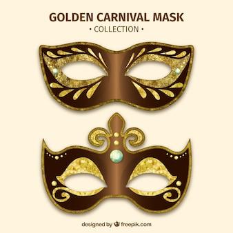 Colección de máscaras de carnaval doradas