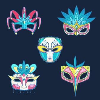 Colección de máscaras de carnaval veneciano sobre fondo azul.
