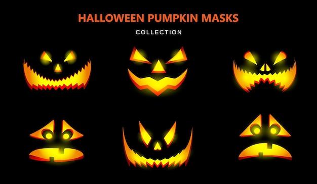 Colección de máscaras para halloween. calabazas talladas con diferentes emociones. ilustración realista sobre un fondo negro. vector.