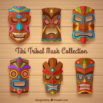 Colección de máscaras tiki con detalles coloridos