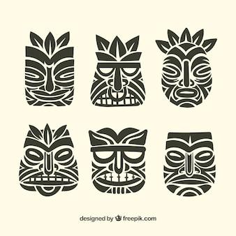Colección de máscaras tiki negras