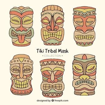 Colección de máscaras tiki tribales