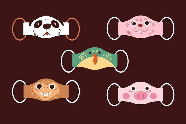 Colección de mascarillas de animales