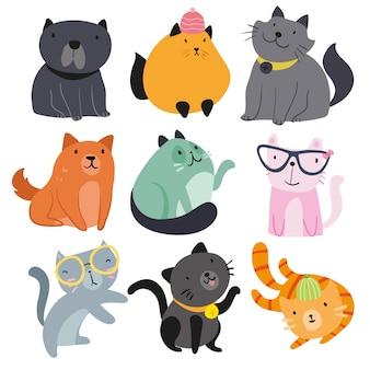 Colección de mascotas dibujadas a mano