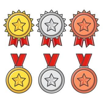 Colección de medallas aislado en blanco