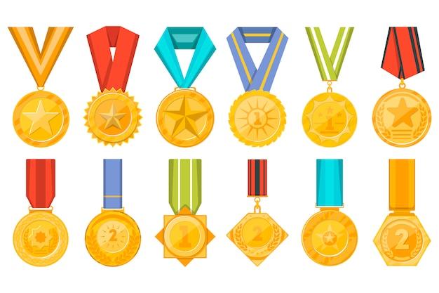 Colección de medallas doradas con conjunto de cintas