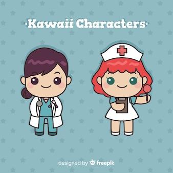 Colección medico kawaii dibujados a mano