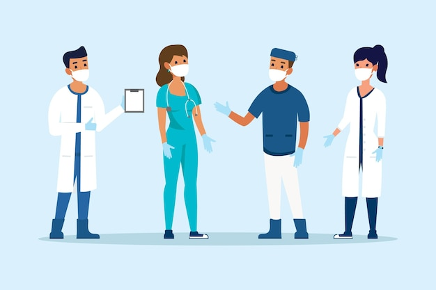 Colección de médicos y enfermeras.