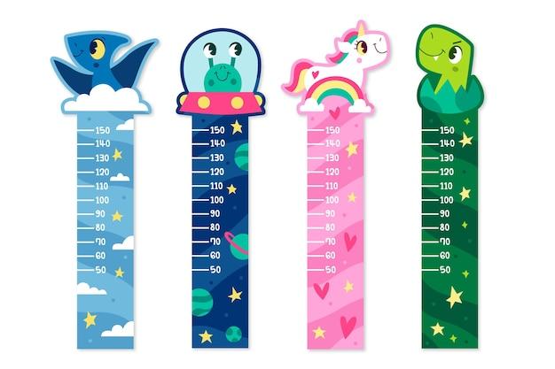 Colección de medidores de altura dibujados a mano para niños ilustrados