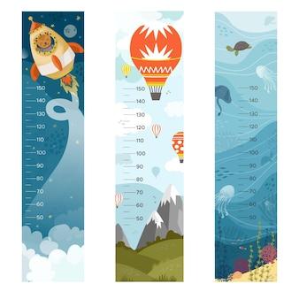 Colección de medidores de altura dibujados a mano para niños