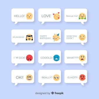Colección de mensajes con emojis