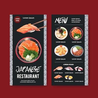 Colección de menú de sushi para restaurante. plantilla con ilustraciones de acuarela de alimentos.