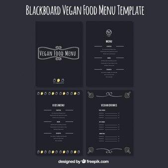 Colección de menús oscuros de restaurante vegano