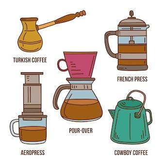 Colección de métodos de elaboración de café dibujados a mano