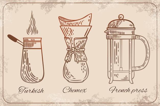 Colección de métodos de preparación de café retro