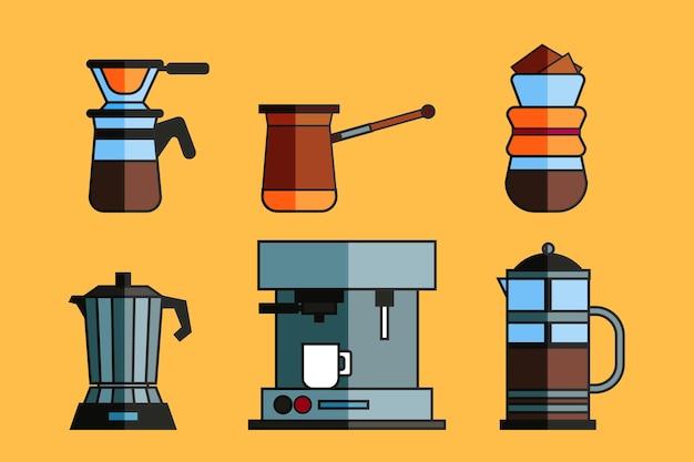 Colección de métodos de preparación de café.