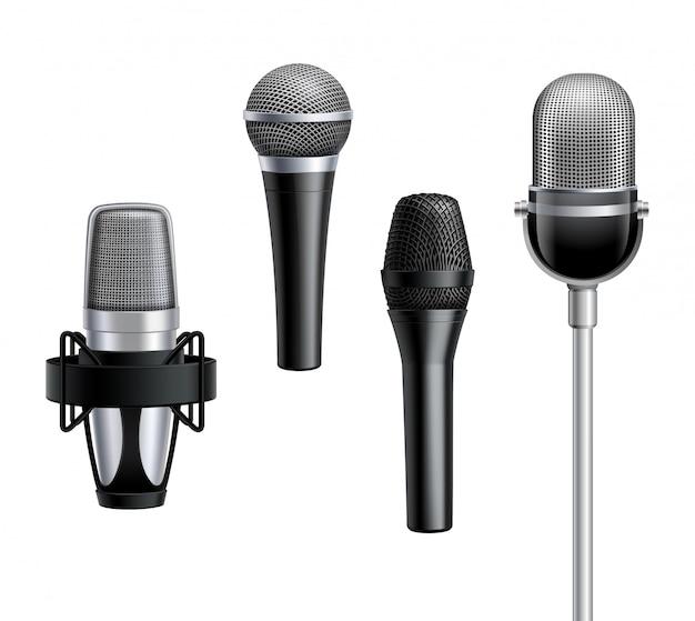 Colección de micrófonos en estilo realista
