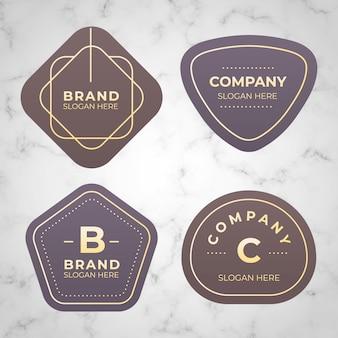 Colección mínima de logotipos sobre fondo de mármol