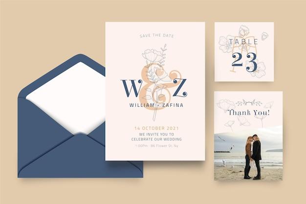 Colección mínima de papelería de boda