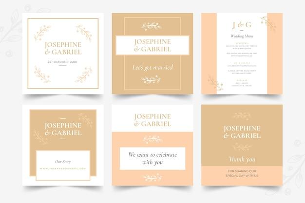 Colección mínima de publicaciones de instagram de boda