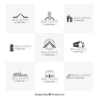 Colección minimalista de logotipos de inmobiliaria