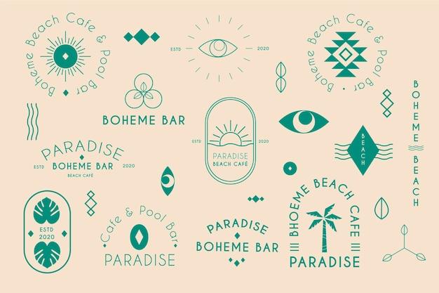 Colección minimalista de elementos del logotipo en dos colores.