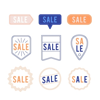 Colección minimalista de etiquetas de ventas