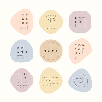 Colección minimalista de logotipos con colores pastel