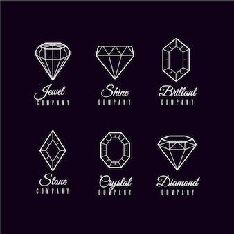 Colección minimalista de logotipos de diamantes