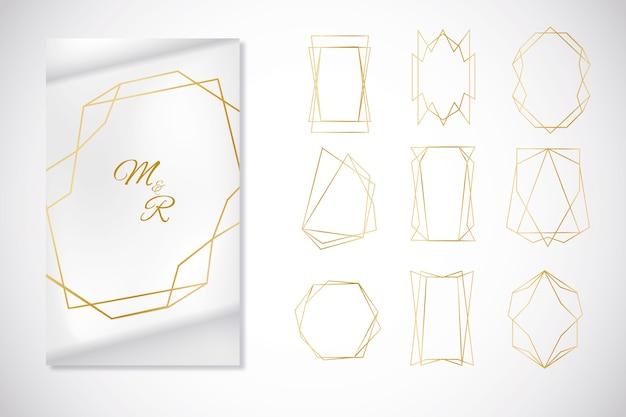Colección minimalista de marcos poligonales dorados