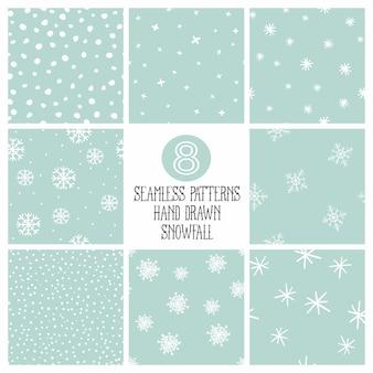 Colección minimalista de patrones sin fisuras de nieve.