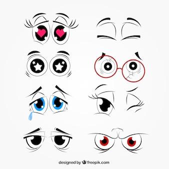 Colección de miradas de dibujos animados