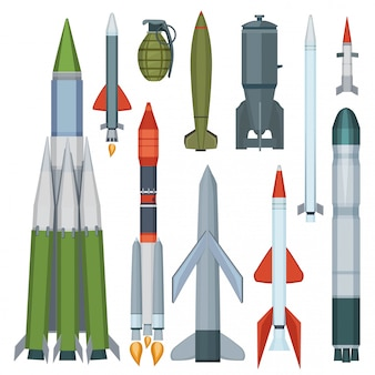 Colección de misiles. conjunto de dibujos animados de armas militares de armadura de vuelo de defensa