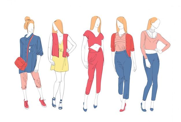 Colección de moda de ropa conjunto de modelos masculinos y femeninos con boceto de ropa de moda