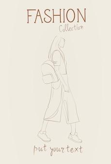 Colección de moda de ropa femenina conjunto de modelos de mujer con ropa de moda sketch