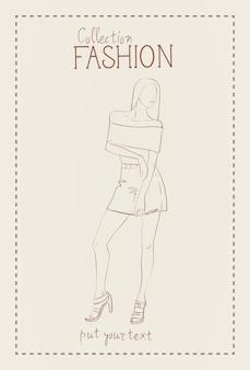 Colección de moda de ropa modelo femenino con ropa de moda sketch