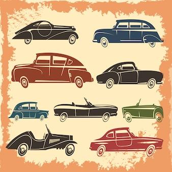 Colección de modelos de automóviles retro con autos de estilo vintage en ilustración de vector abstracto de fondo envejecido