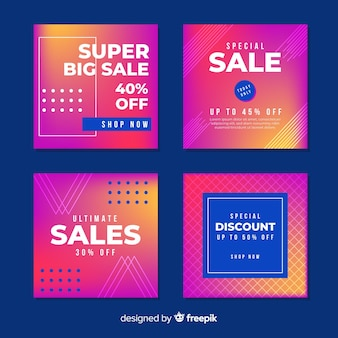 Colección moderna de banners de ventas para redes sociales