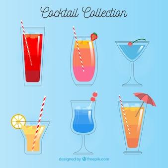 Colección moderna de cócteles con diseño plano